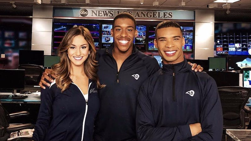 On April 2018, the Los Angeles Rams added two men to their cheerleading squad, becoming the first National Football League team to have male dancers on the field.