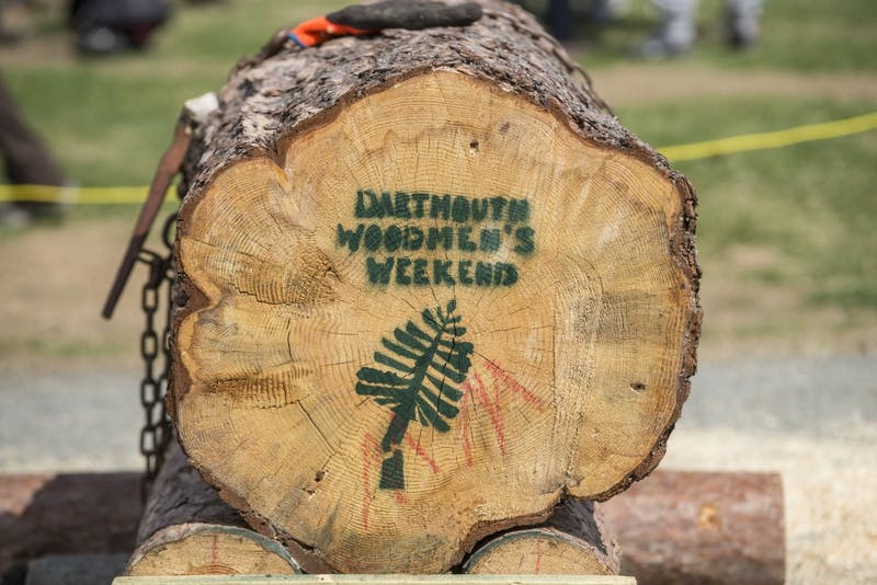 The Dartmouth Woodsmen's Team practices events such as axe throwing and wood splitting.