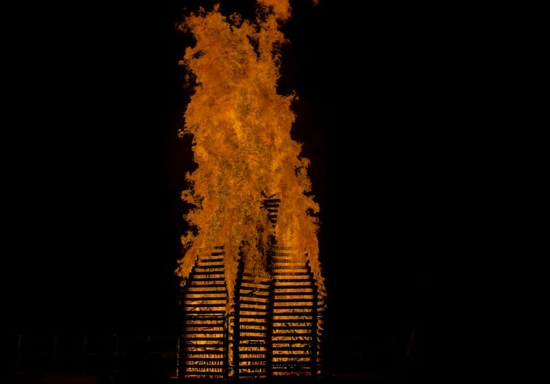 No students attempted to touch the Homecoming bonfire this year.