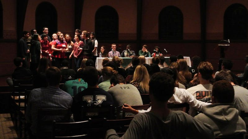 An a cappella group performs at the Student Assembly event on Thursday.