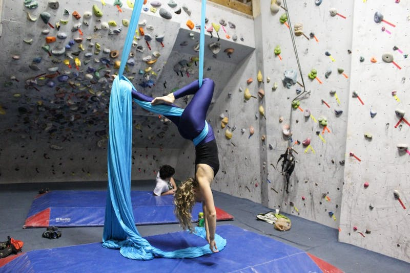Haley Reicher '17 is one of four students involved in aerial silks at Dartmouth.