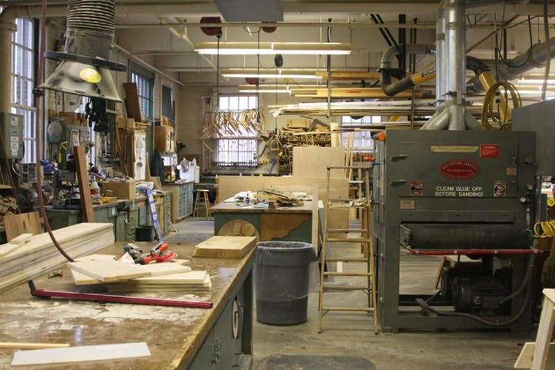 The carpentry shop is located in McKenzie Hall, behind Topliff. A total of 14 carpenters are in charge of repairs on campus and in Hanover.