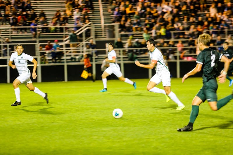 The men's soccer team defeated Michigan State 2-1 on Saturday.