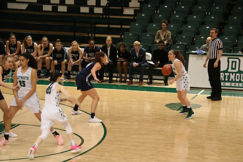 Annie McKenna '21, pictured with the ball last season, averaged 13 points per game for Dartmouth in nonconference play.