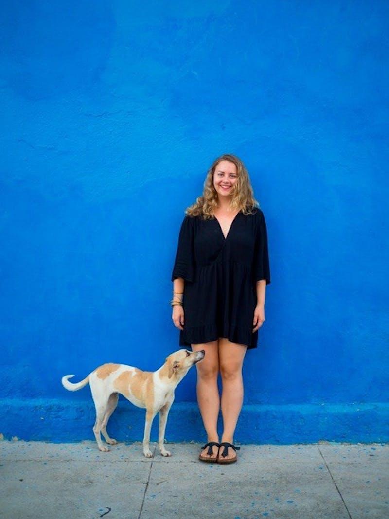 Alexandra posed with a furry friend in Havana, Cuba.