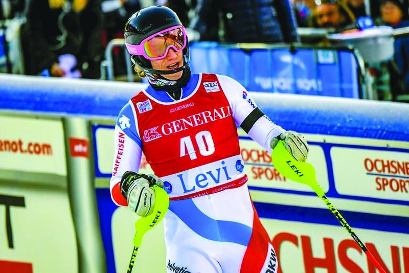 Tanguy Nef '20 skis on the World Cup circuit as well as the Dartmouth alpine team. Courtesy of Tanguy Nef.