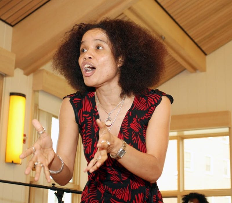 Staceyann Chin, the Center for Women and Gender's eighth annual Visionary in Residence, met with students at a dinner Wednesday.