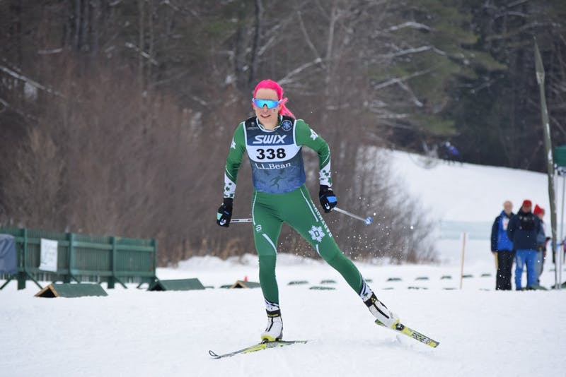 Katharine Ogden '21 took topped the podium in both women's Nordic races.