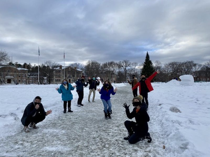 Some of the Project's participants were able to gather on the Green in the winter for a drone-shot segment.