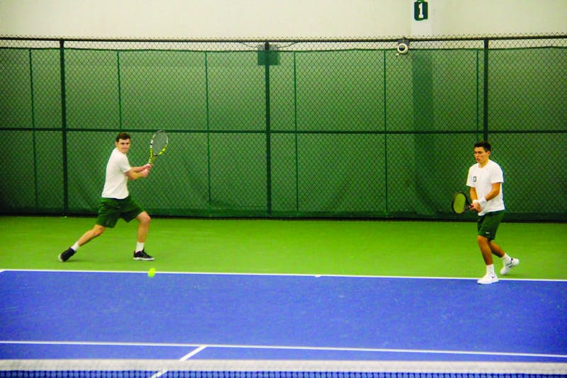 The men's tennis team, led by No. 27 Charlie Broom '20 (right), are off to a 3-2 start this season.