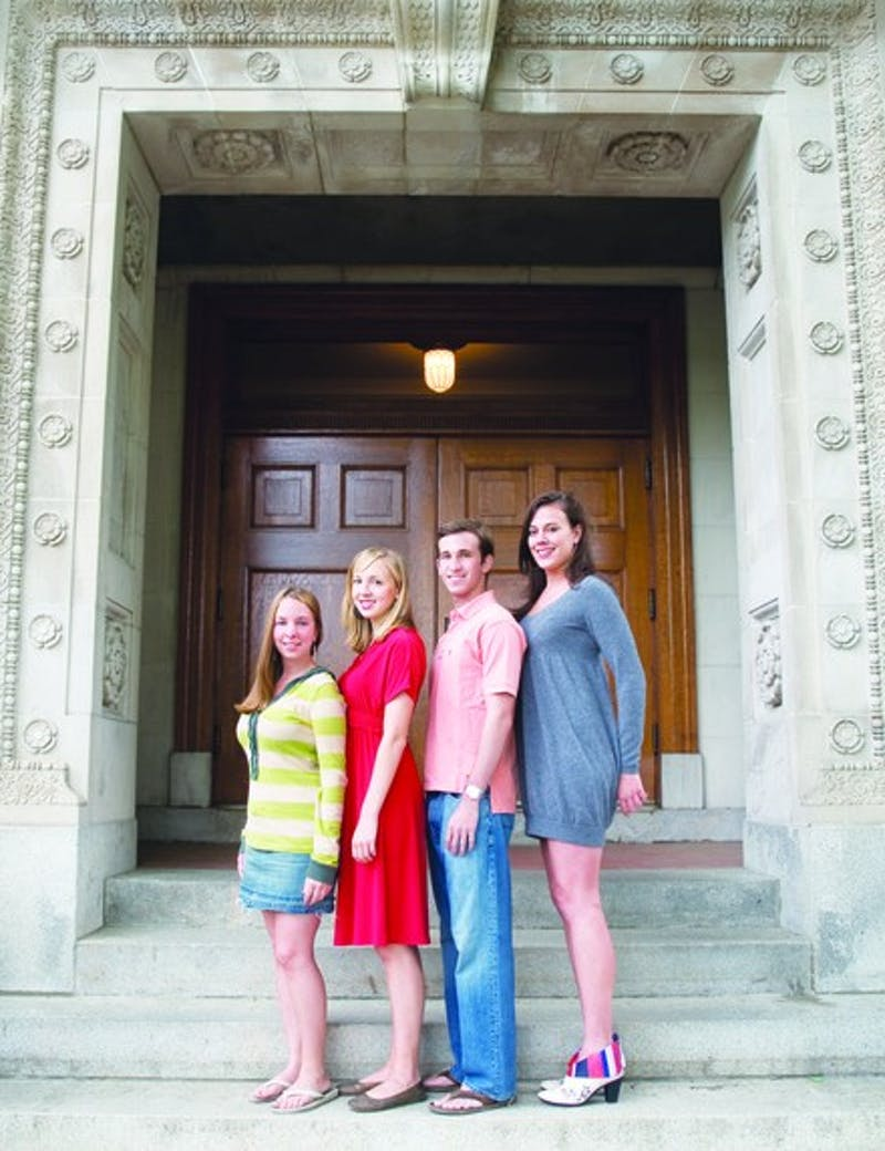 The Mirror's seniors on the steps of Robinson Hall.