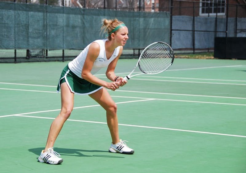 The duo of Jess Adler '10 and Mary Beth Winingham '10 (above) narrowly dropped the No. 2 doubles match, 9-8.