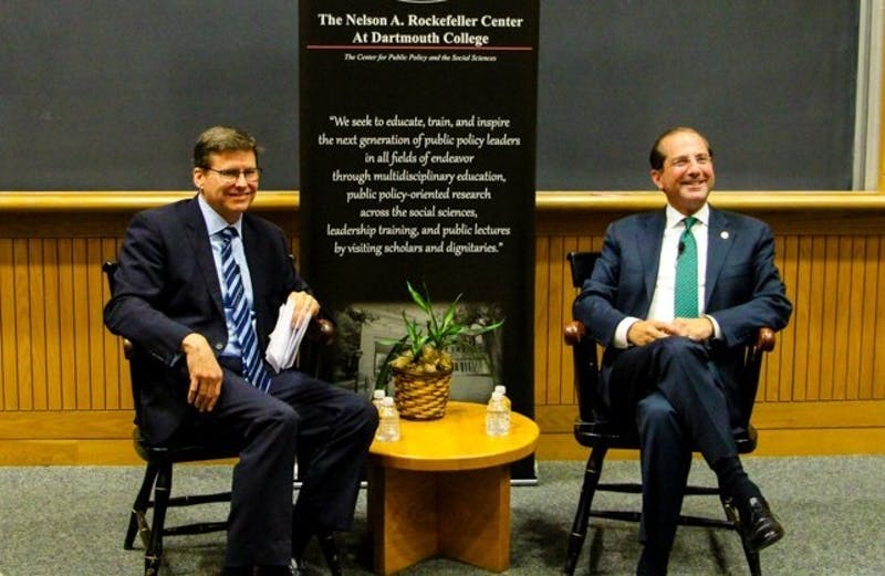 "HHS Secretary Alex Azar '88, seated right, visited campus in May 2019 for a ""fireside chat"" hosted by the Rockefeller Center for Public Policy."