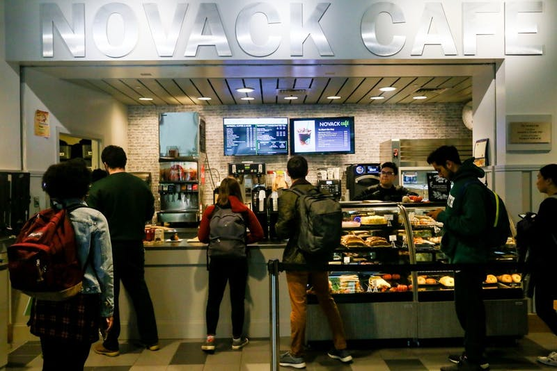 Novack Café was remodeled and now features Starbucks products.