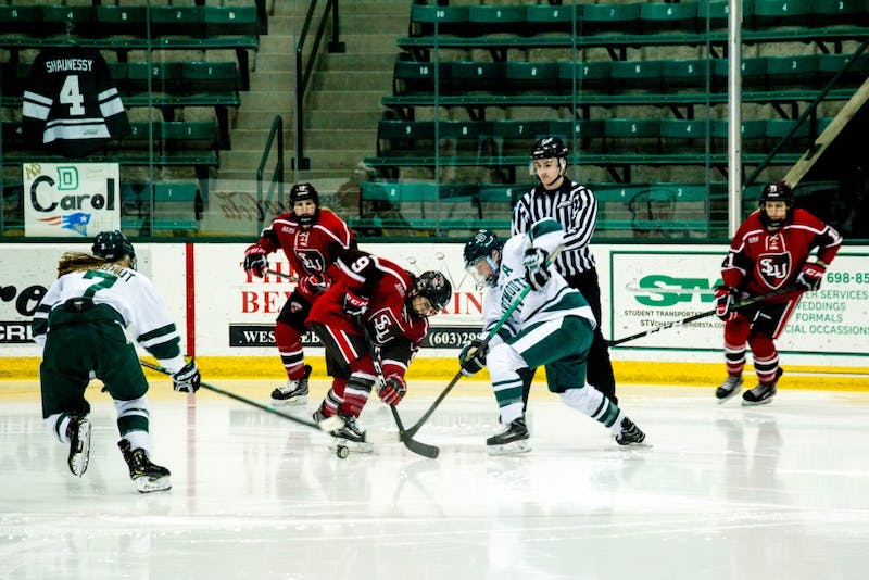 Women's hockey beats defending national champion Clarkson, lacrosse and women's golf play season openers, and more in this week's Roundup.