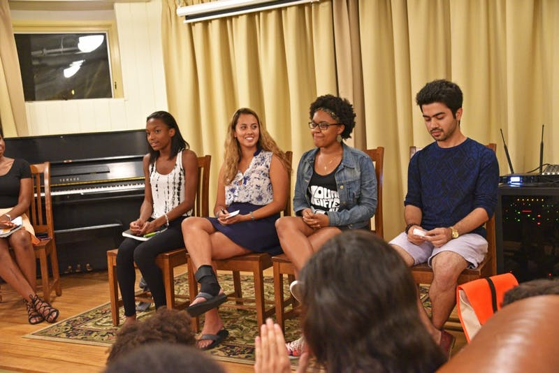 """Four panelists speak on a Tuesday panel about race in the Greek system as part of the """"VoX: Voices of Summer."""""""