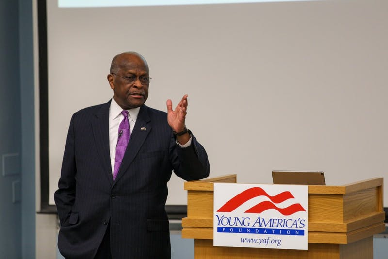 Cain spoke to a small audience yesterday about his thoughts on the difference between capitalism and socialism.