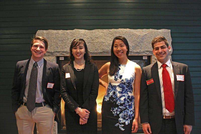 Inaugural Allen House fellows (left to right) Nicholas Gladstone '17, Dania Torres '20 and Amanda Zhou '19, along with organizer Jose Burnes Garza '17.