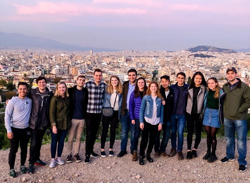 """Students from PBPL 85, """"Global Policy Leadership,"""" traveled across Europe over winter break."""