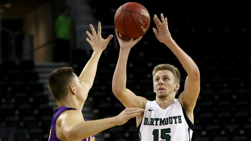 Brendan Barry '20 currently sits atop the NCAA rankings in 3-point shooting percentage. His hot shooting has been contagious, with the Big Green averaging 3.4 more 3-pointers per game than last season. William Cherry/Courtesy of the Dartmouth Athletics Department.