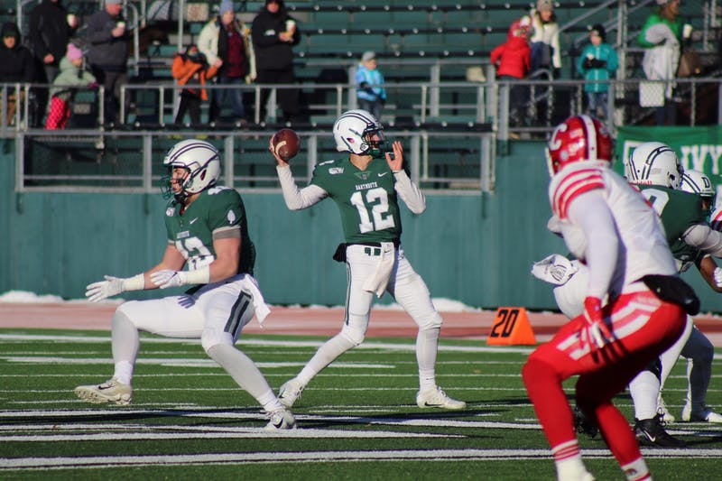 Derek Kyler '21 had six completions for 101 yards in Dartmouth's 20-17 loss to Cornell on Saturday.