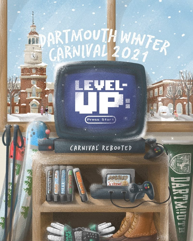 """Allan Rubio '23 designed this year's Winter Carnival poster, based on the theme """"Level Up: Carnival Rebooted."""""""