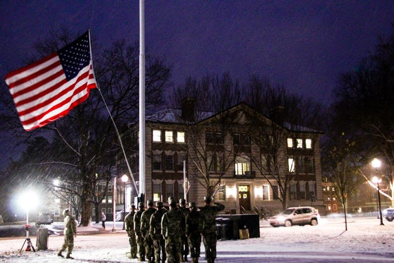 Members of Dartmouth's ROTC held a formal flag drill and retreat ceremony on Veterans Day.