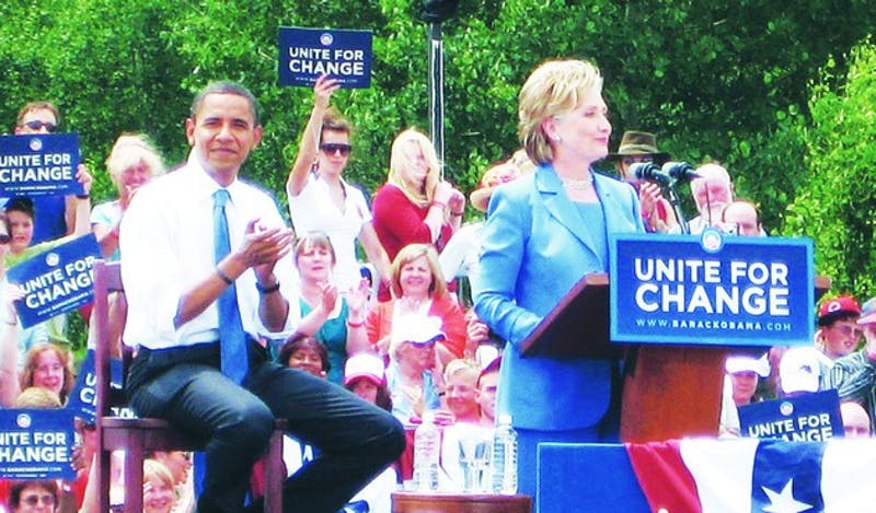 Senators Barack Obama, D-Ill., and Hillary Clinton, D-N.Y., appear together for the first time following their nomination battle in Unity, N.H. on Friday.