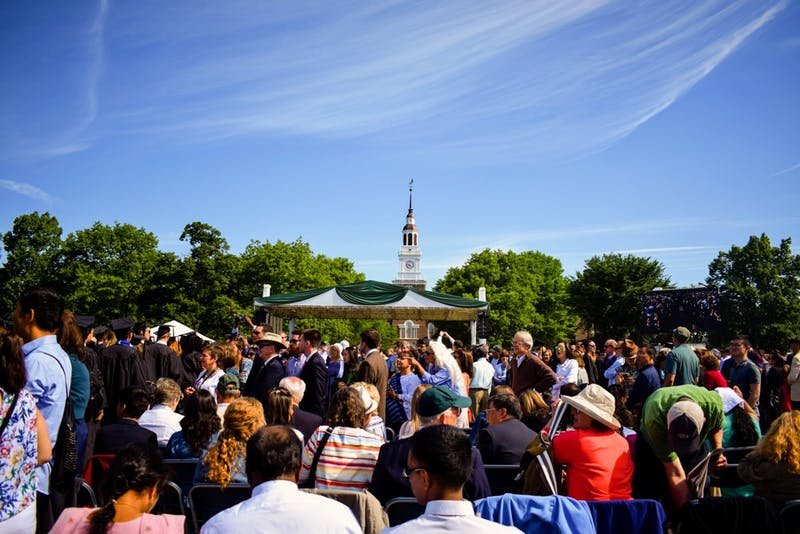 Commencement at Dartmouth always brings large crowds to the Green — leading to the practice of seat saving.