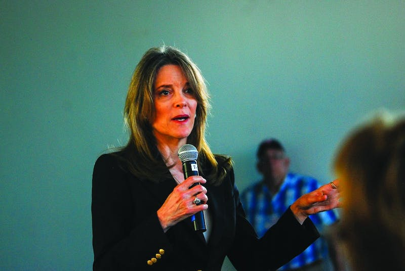 2020 Democratic presidential candidate Marianne Williamson hosted a town hall at the Top of the Hop on Wednesday.