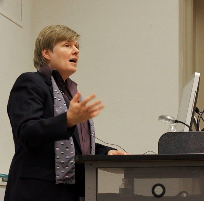 Georgetown University professor Nan Hunter spoke on marriage equality in Carpenter Hall on Thursday.