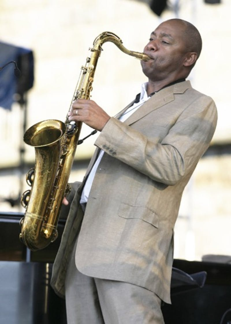 Branford Marsalis plays the alto saxophone with his band during the JVC Jazz Festival, Saturday, Aug. 11, 2007, in Newport, R.I. (AP Photo/Stew Milne)