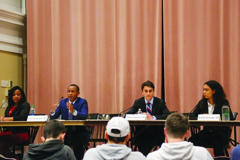 Sydney Johnson '20, Tim Holman '20, Luke Cuomo '20 and Ariela Kovary '20 participated in the debate.