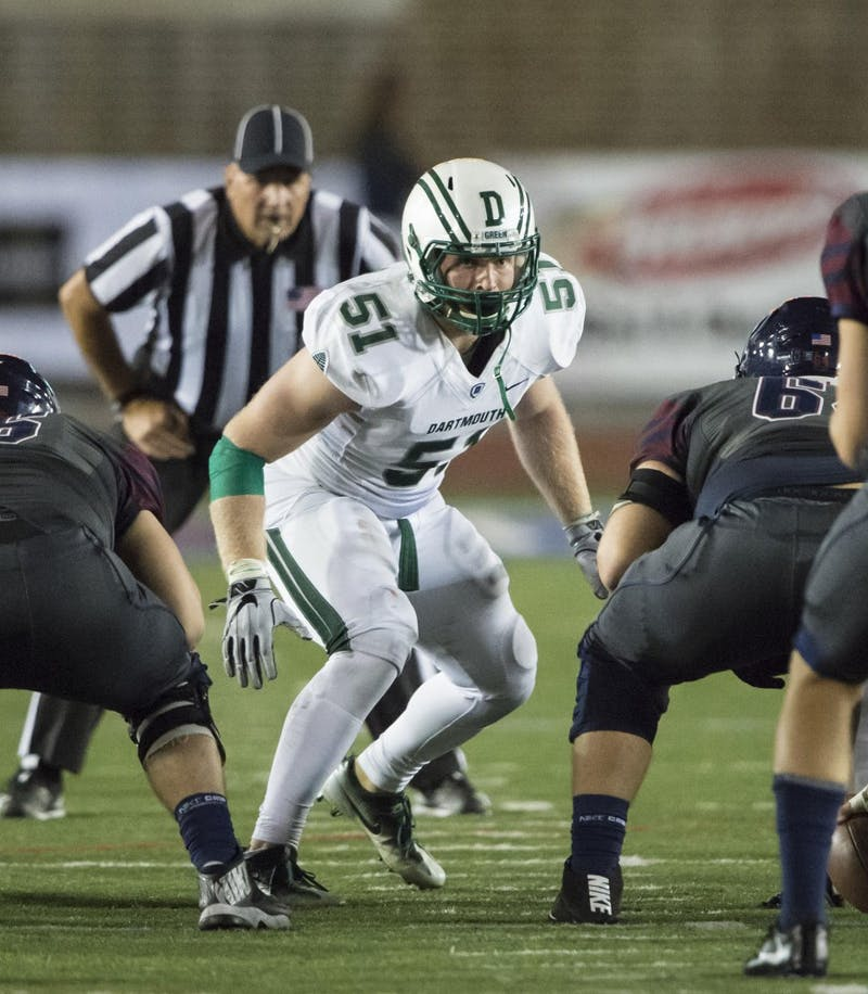 Jack Traynor's tireless work ethic bears fruit on and off the football field. (Gregory Fisher/Courtesy of the Dartmouth Athletics Department)