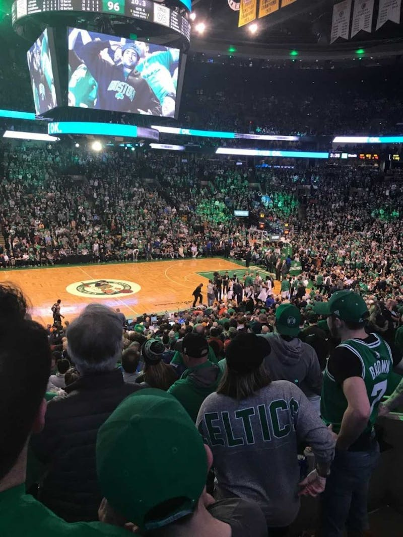Boston Celtics fans look out over TD Garden during a battle against the Milwaukee Bucks on Apr. 15, 2018.