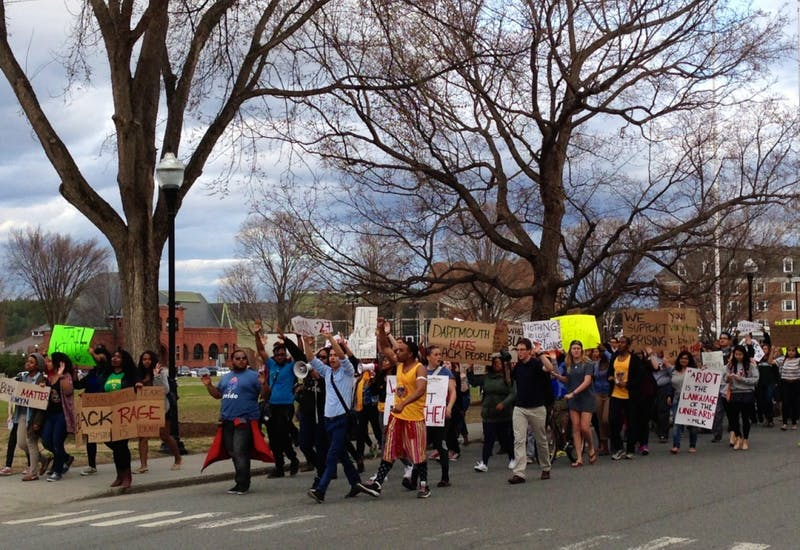 Roughly 150 students marched around campus in response to recent events in Baltimore.