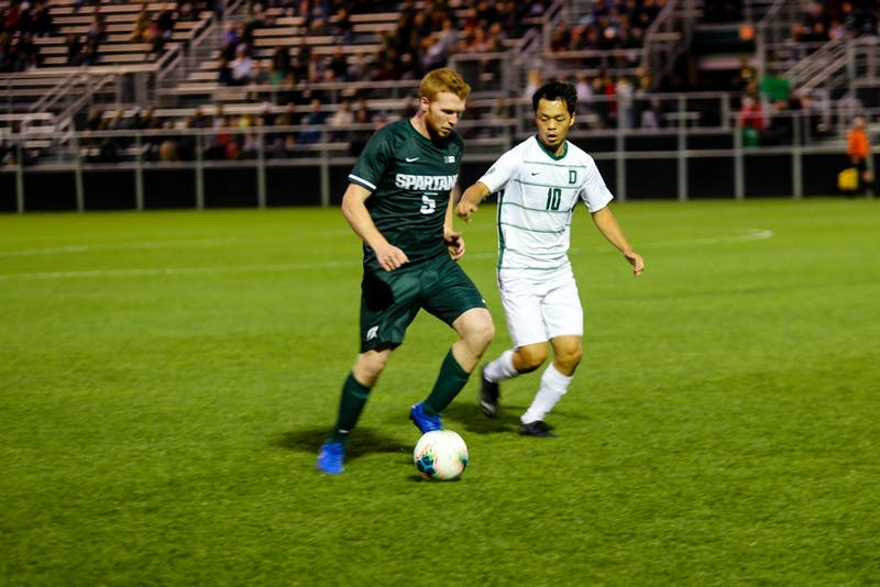 The men's soccer team defeated Michigan State at home on Saturday.