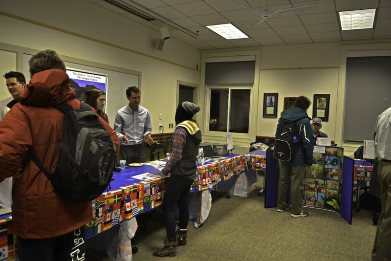 Students attend an off-campus programs fair on Thursday.