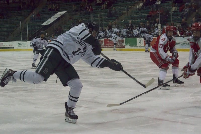 Drew O'Connor, pictured here last season, scored two goals in the preseason matchup with Harvard.