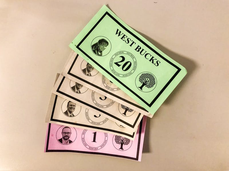 """West Bucks"" are offered in a variety of colors and denominations."