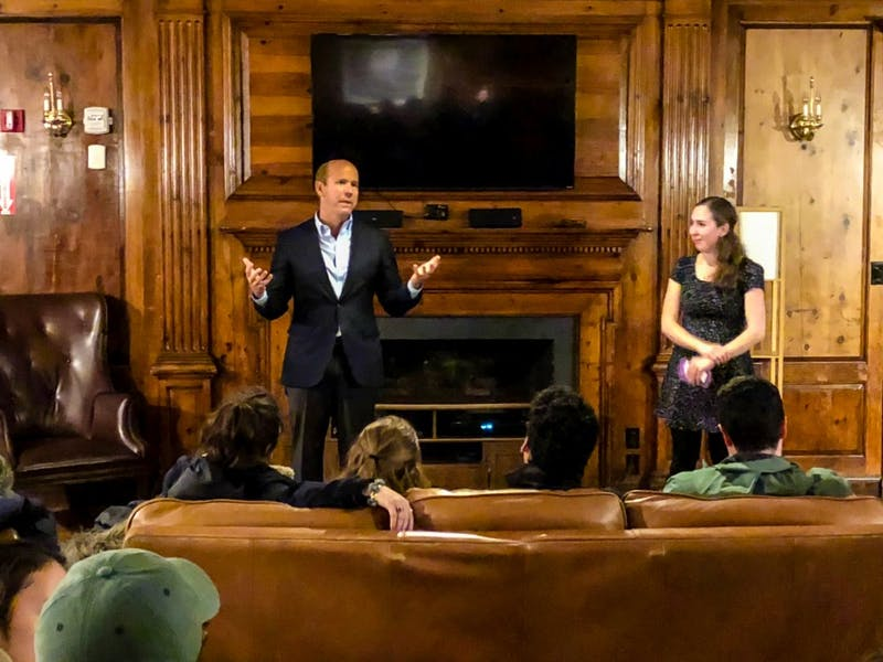 Rep. John Delaney spoke at Beta Alpha Omega fraternity on Monday as part of his campaign for the Democratic presidential nomination.