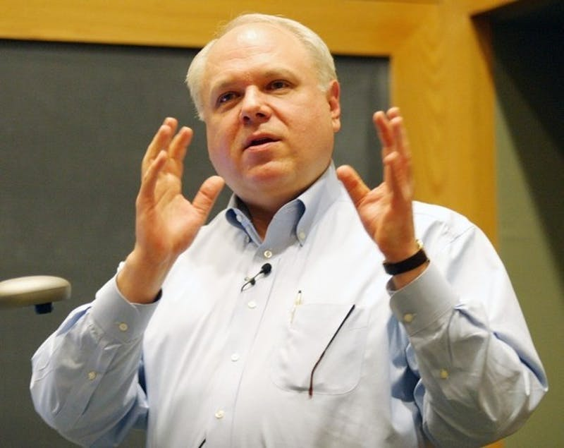 Columnist Bruce Bartlett delivers a lecture Tuesday at the Rockefeller Center.