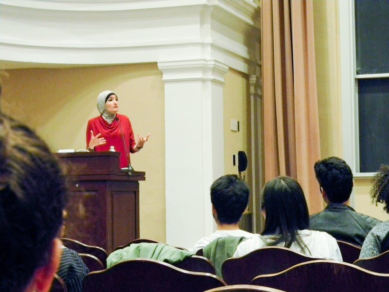 Palestinian-American activist Linda Sarsour gave a talk on Friday as part of APAHM.