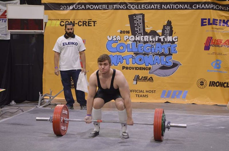 Drake Corbin '17 pulled 232.5 kilograms during the U.S.A. Powerlifting Collegiate National Championships.
