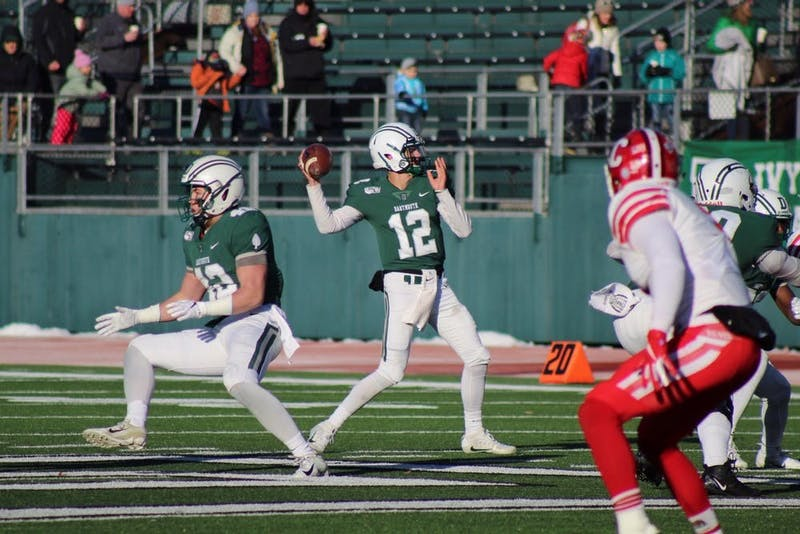 Returning fifth-year Derek Kyler '21, the Big Green starting quarterback, led Dartmouth to a win in the team's season opener on Saturday.