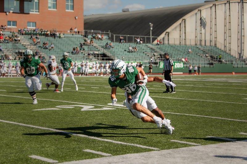 Paxton Scott '24 scored Dartmouth's first touchdown on Saturday. Through two weeks, he now has 10 catches for 95 yards and two scores.