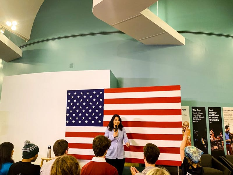 Gabbard spoke to a crowd of roughly 200 community members and students.