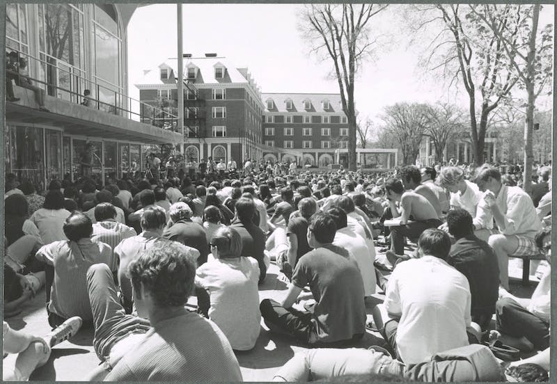 Students gather in front of the Hopkins Center to protest the Vietnam War in 1970.