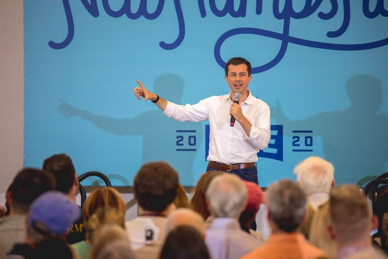 Pete Buttigieg spoke at the Hanover Inn on Saturday.