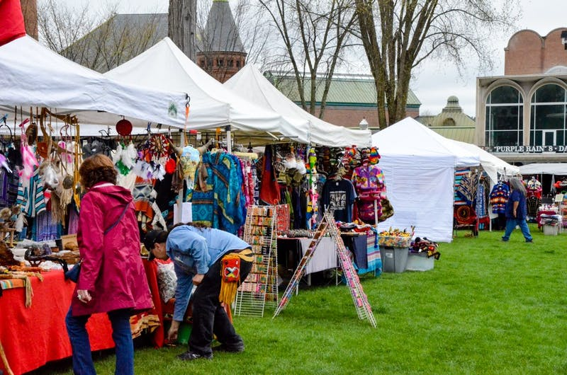 Community members perused merchandise at Dartmouth's annual Powwow.